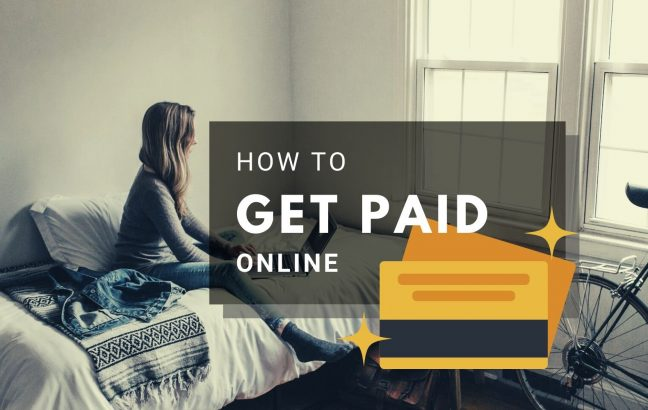 "Woman working from home and a heading ""How to get paid online"""